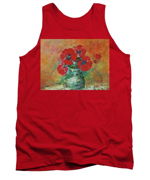 Red Poppies In A Vase Tank Top