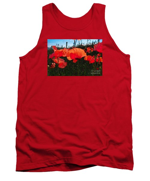 Tank Top featuring the photograph Red Poppy Flowers In Grassland by Jean Bernard Roussilhe