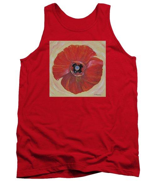 Red Poppy Tank Top by Rita Fetisov