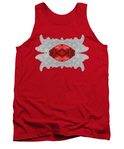 Red Rose Abstract On Digital Lace Tank Top