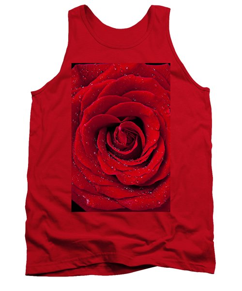 Red Rose With Dew Tank Top