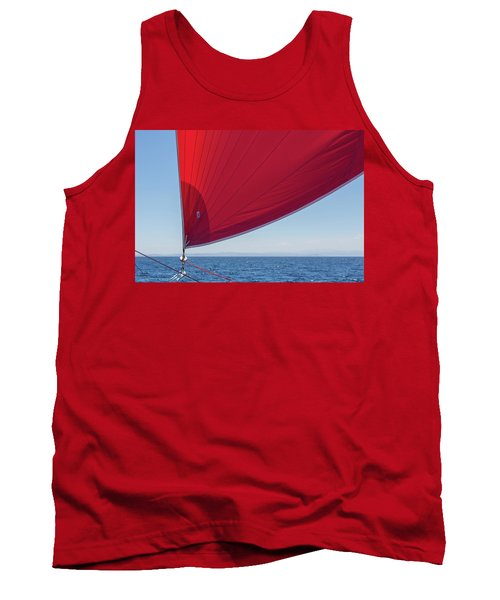 Tank Top featuring the photograph Red Sail On A Catamaran 2 by Clare Bambers