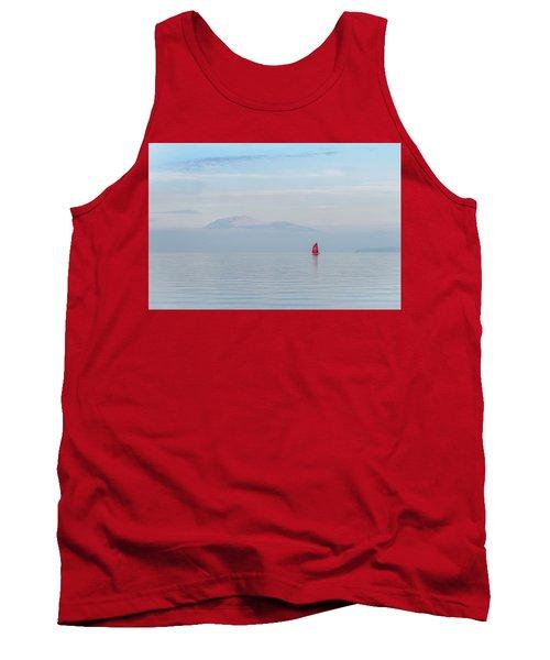 Red Sailboat On Lake Tank Top