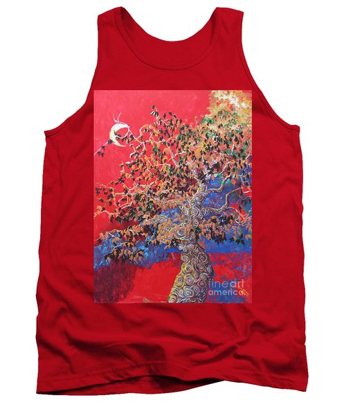 Red Sky And Tree Tank Top