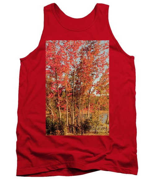 Tank Top featuring the photograph Red Trees by Iris Greenwell
