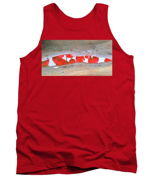 Tank Top featuring the photograph Red Tulip Reflection by Karen Molenaar Terrell