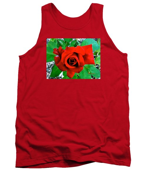 Tank Top featuring the photograph Red Velvet Rose by Sadie Reneau