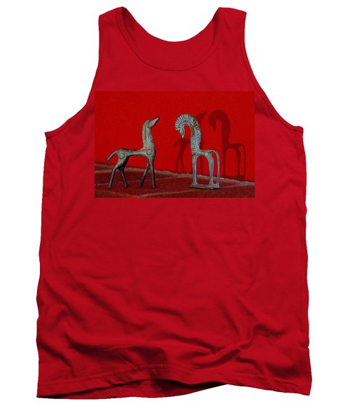 Red Wall Horse Statues Tank Top