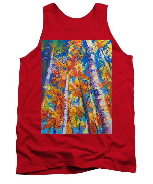 Redemption - Fall Birch And Aspen Tank Top by Talya Johnson
