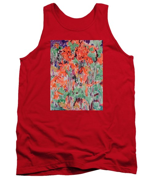 Regal Red Fall Foliage Tank Top by Esther Newman-Cohen