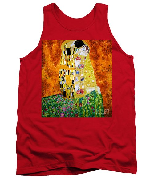Tank Top featuring the painting Reproduction Of The Kiss By Gustav Klimt by Zedi