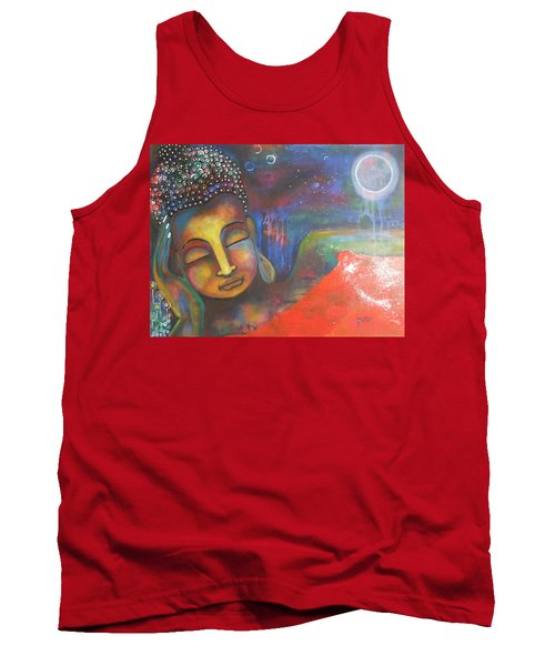 Buddha Resting Under The Full Moon  Tank Top by Prerna Poojara