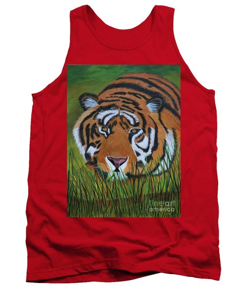 Tank Top featuring the painting Resting Tiger  by Myrna Walsh