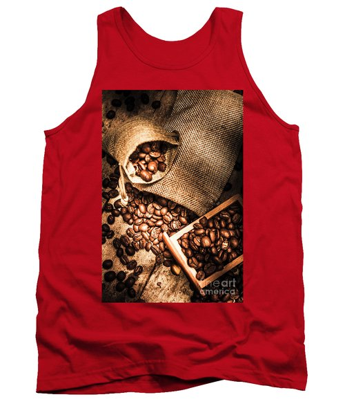 Roasted Coffee Beans In Drawer And Bags On Table Tank Top