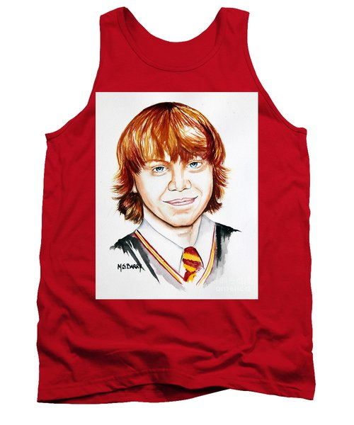 Tank Top featuring the painting Ron Weasley by Maria Barry