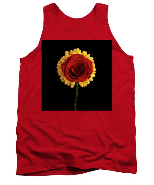Rose On Yellow Flower Black Background Tank Top by Sergey Taran