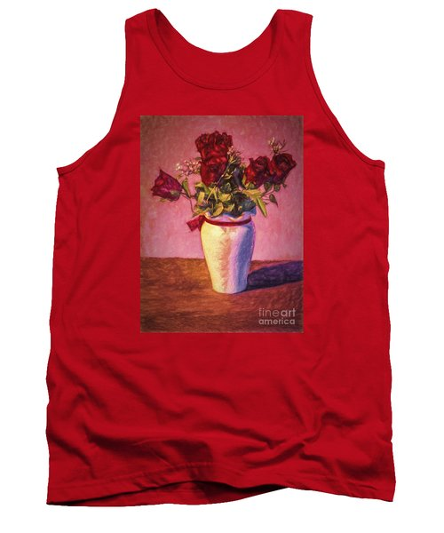 Tank Top featuring the photograph Roses In Vase  ... by Chuck Caramella