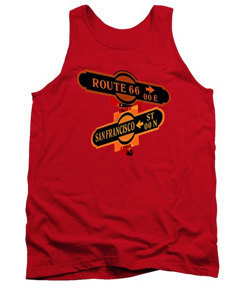 Tank Top featuring the photograph Route 66 Street Sign Stylized Colors by Phyllis Denton
