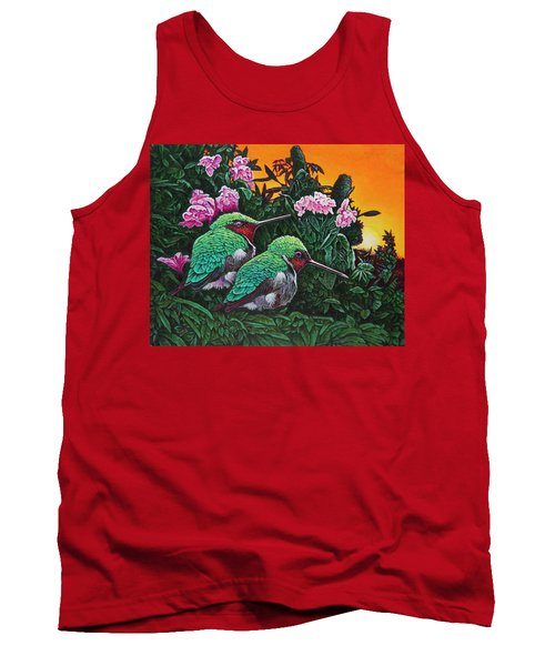 Ruby-throated Hummingbirds Tank Top by Michael Frank