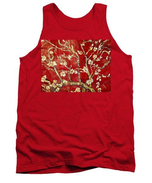 Sac Rouge Avec Fleurs D'almandiers Tank Top