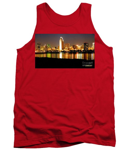 San Diego Skyline With Reflections On Mission Bay Tank Top