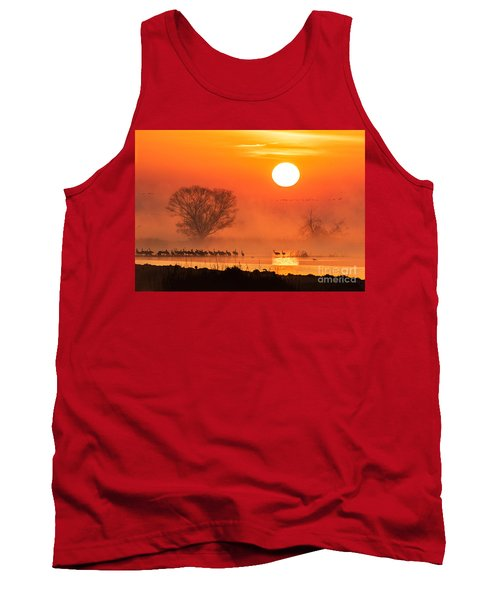 Sandhill Cranes In The Misty Sunrise Tank Top