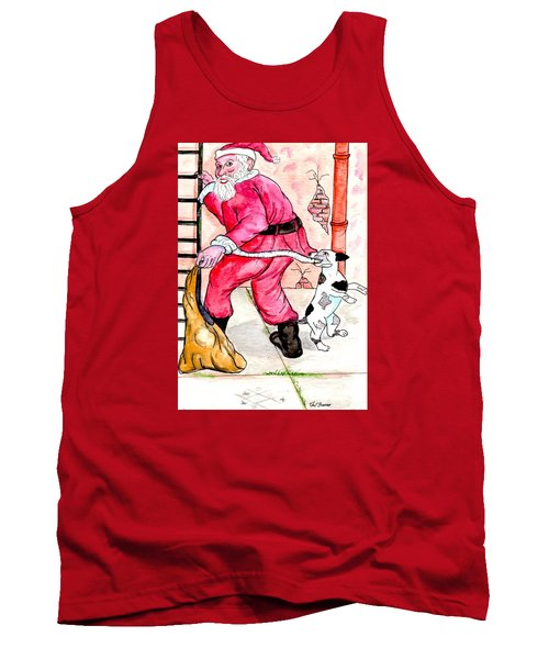Santa Climbs The Ladder Tank Top by Philip Bracco