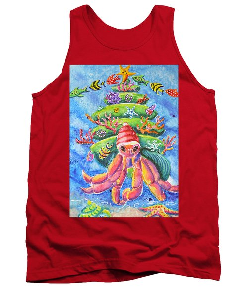 Tank Top featuring the painting Santa Crab by Li Newton