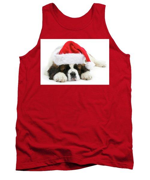 Santa's Snoozing Saint Bernard Tank Top