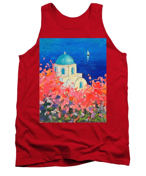 Santorini Impression - Full Bloom In Santorini Greece Tank Top by Ana Maria Edulescu