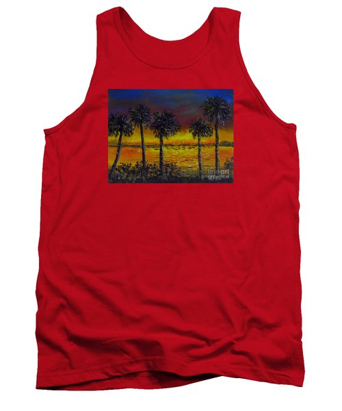 Tank Top featuring the painting Sarasota Bayfront Sunset by Lou Ann Bagnall