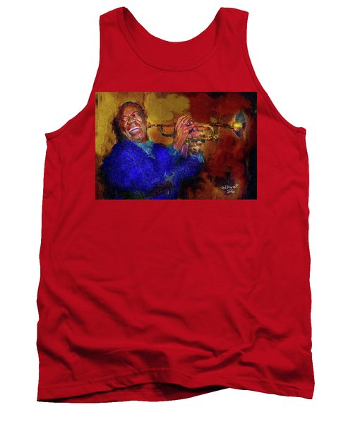 Tank Top featuring the painting Satchmo by Ted Azriel