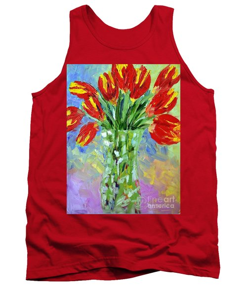 Scarlet Tulips Tank Top by Lynda Cookson