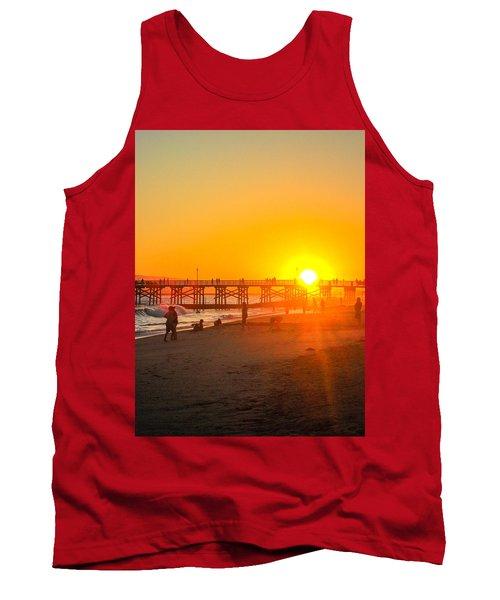 Seal Beach Pier Sunset Tank Top by Mark Barclay