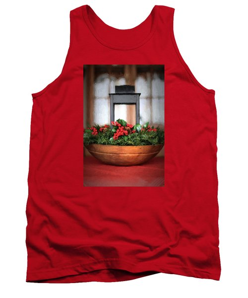 Tank Top featuring the photograph Seasons Greetings Christmas Centerpiece by Shelley Neff