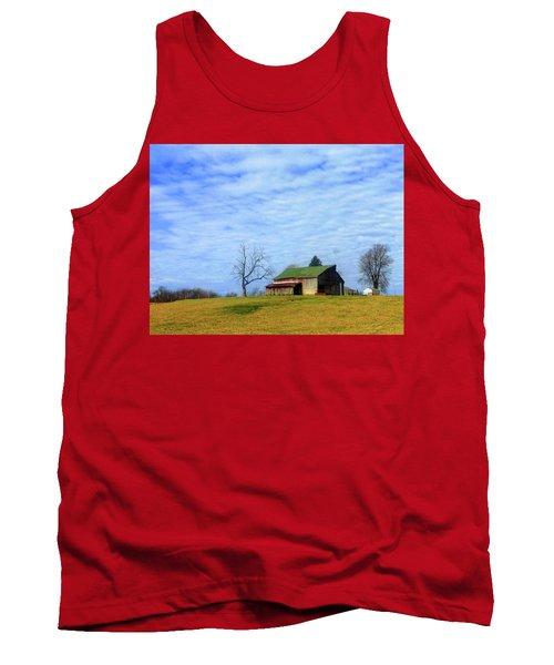 Serenity Barn And Blue Skies Tank Top by Tina M Wenger