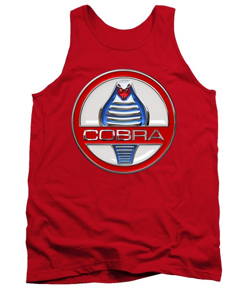 Shelby Ac Cobra - Original 3d Badge On Red Tank Top