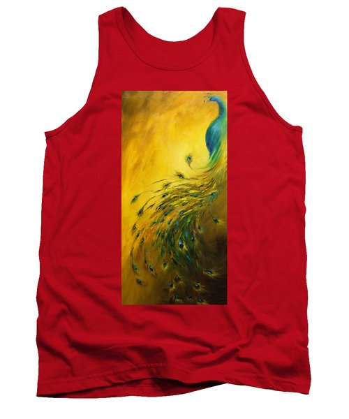 Show Off 1 Vertical Peacock Tank Top by Dina Dargo