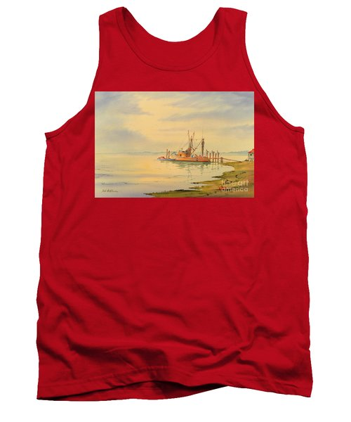 Tank Top featuring the painting Shrimp Boat Sunset by Bill Holkham