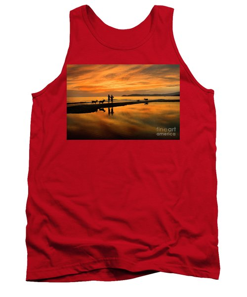 Silhouette And Amazing Sunset In Thassos Tank Top