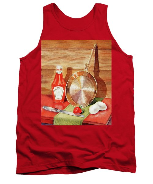 Skillet Eggs And Heinz Ketchup Watercolor  Tank Top