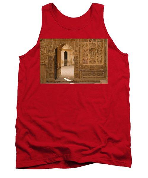 Skn 1317 Threshold Of Carvings Tank Top by Sunil Kapadia