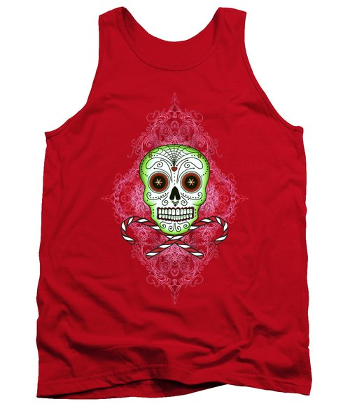 Tank Top featuring the digital art Skull And Candy Canes by Tammy Wetzel