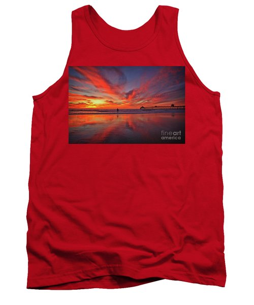 Sky On Fire At The Imperial Beach Pier Tank Top