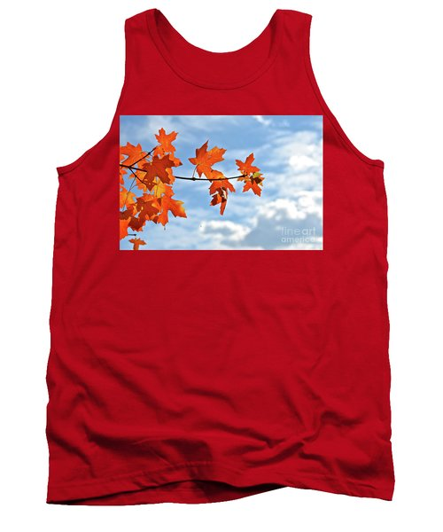Sky View With Autumn Maple Leaves Tank Top