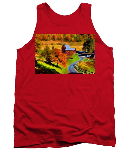 Digital Painting Of Sleepy Hollow Farm Tank Top