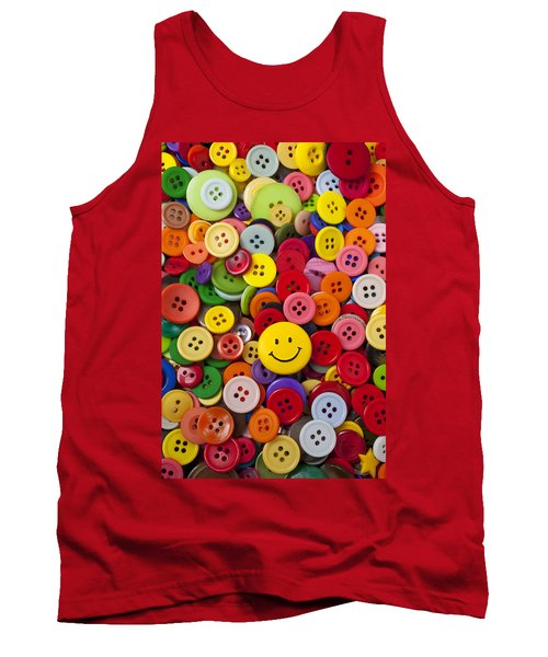 Smiley Face Button Tank Top