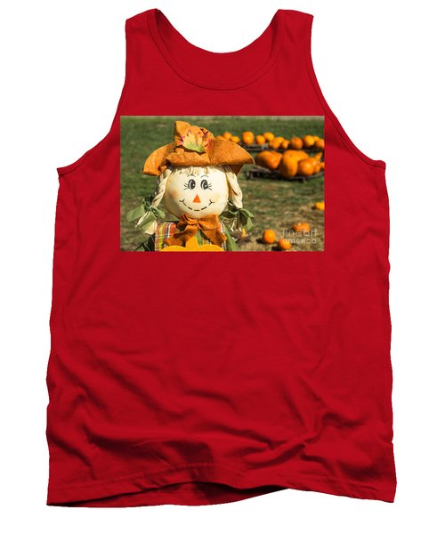 Smiling Scarecrow With Pumpkins Tank Top