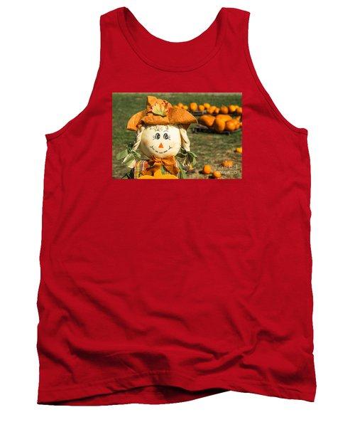 Smiling Scarecrow With Pumpkins Tank Top