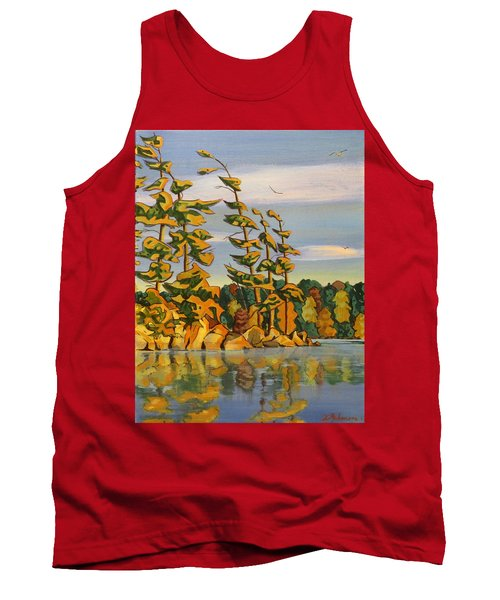 Snake Island In Fall Sunset Tank Top by David Gilmore